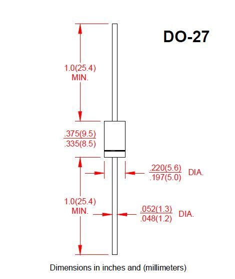 Diode Rectifiers 1N5408 DO-27 1000V 3.0A Ammo